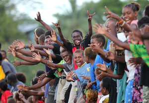Honiara, Solomon Islands: Locals cheer Prince William